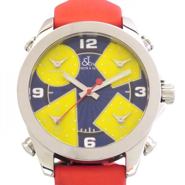 ジェイコブ JACOB&CO ファイブタイムゾーン JCM18 ネイビー/イエロー文字盤 レディース 腕時計 【新品】