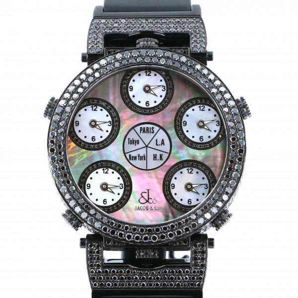 ジェイコブ JACOB&CO シックスタイムゾーン ベゼル・ラグブラックダイヤ JC-LG3DCBD ブラック/ホワイト文字盤 メンズ 腕時計 【中古】