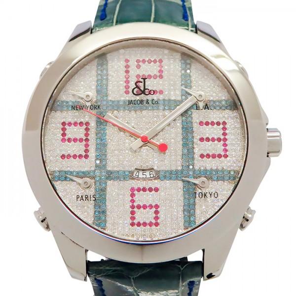 ジェイコブ JACOB&CO ファイブタイムゾーン JC-TIC 全面ダイヤ文字盤 メンズ 腕時計 【中古】