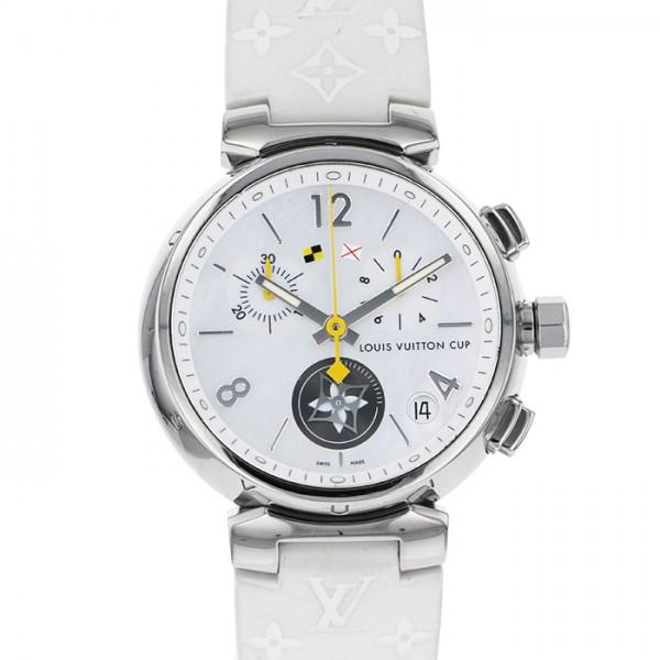 独特の素材 ルイ・ヴィトン LOUIS VUITTON タンブール ラブリーカップ クロノグラフ Q11BA ホワイト文字盤  腕時計 メンズ, アマラスラグジェクリスタルデコ 352e3774