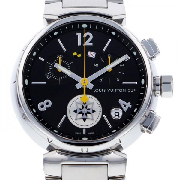 最新人気 ルイ・ヴィトン LOUIS VUITTON タンブール ラブリーカップクロノ Q132G ブラック文字盤  腕時計 レディース, タマカワムラ 546fe732