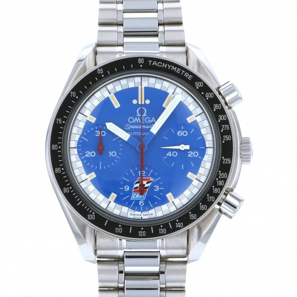【期間限定ポイント5倍 5/5~5/31】 オメガ OMEGA スピードマスター シューマッハ 3510.80 ブルー文字盤 メンズ 腕時計 【中古】