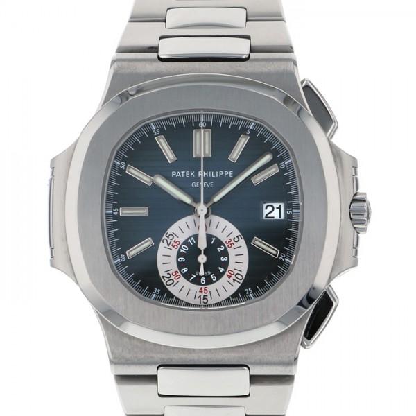 パテック フィリップ PATEK PHILIPPE ノーチラス クロノグラフ 5980/1A-001 ブルー文字盤 メンズ 腕時計 【中古】, ショウワク:447b7147 --- yuttari.jp