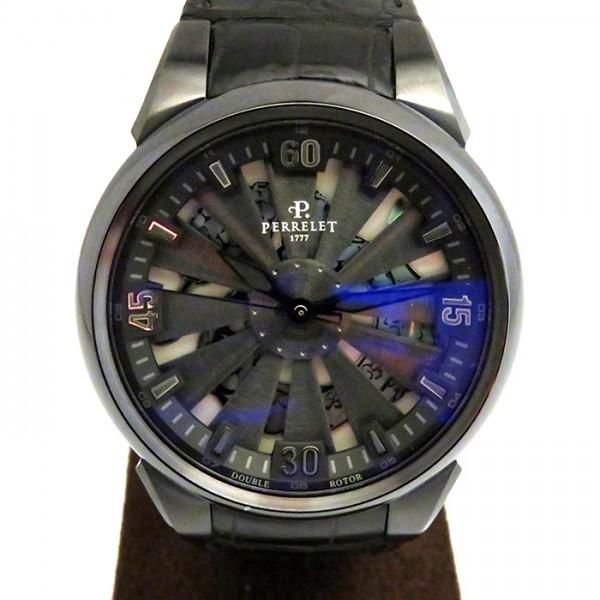 【期間限定ポイント5倍 5/5~5/31】 ペルレ PERRELET その他 タービン A8001/1 ブラック文字盤 メンズ 腕時計 【新品】
