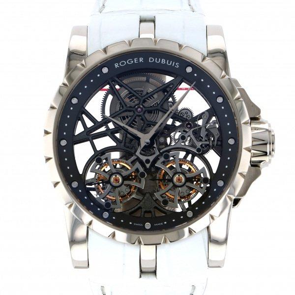 【全品 ポイント10倍 4/9~4/16】ロジェ・デュブイ ROGER DUBUIS エクスカリバー ダブルフライングトゥールビヨン スケルトン RDDBEX0281 シルバー文字盤 メンズ 腕時計 【中古】