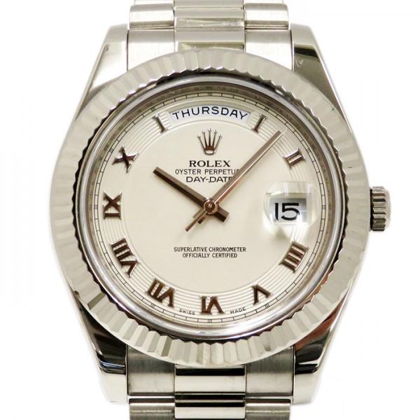 ロレックス ROLEX デイデイト II 218239 アイボリーローマ文字盤 メンズ 腕時計 【中古】