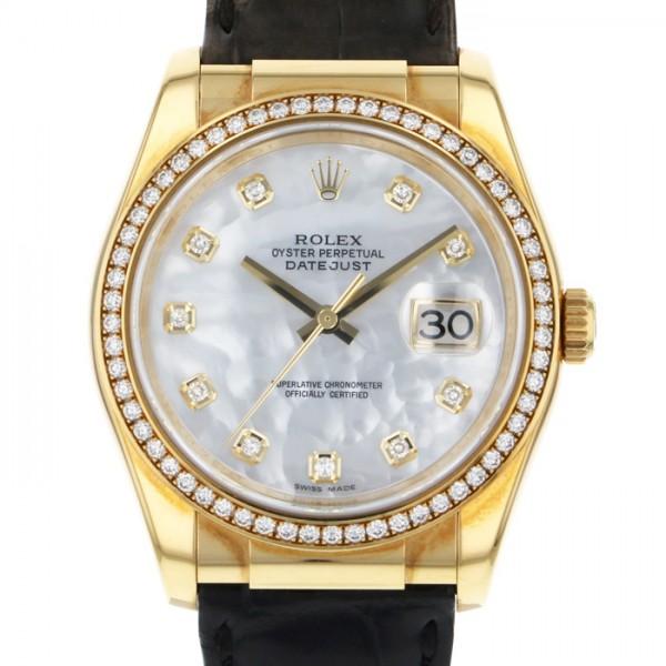 ロレックス ROLEX デイトジャスト ベゼルダイヤ 116188NG ホワイト文字盤 メンズ 腕時計 【中古】