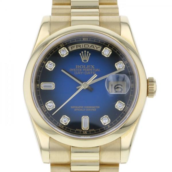 【全品 ポイント10倍 4/9~4/16】ロレックス ROLEX デイデイト 118208A ブルー文字盤 メンズ 腕時計 【中古】