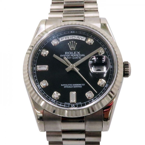 ロレックス ROLEX デイデイト 118239A ブラック文字盤 メンズ 腕時計 【中古】