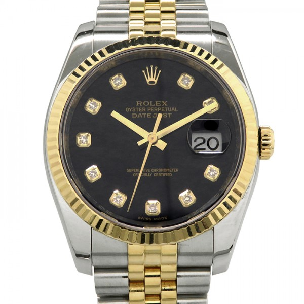 品質は非常に良い ロレックス ROLEX デイトジャスト 116233G ブラック文字盤  腕時計 メンズ, 剣淵町 6ccdfd7c