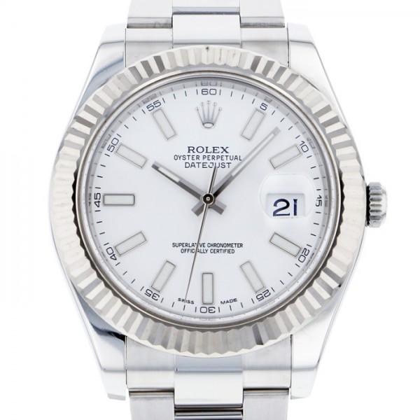 【全品 ポイント10倍 4/9~4/16】ロレックス ROLEX デイトジャスト II 116334 ホワイト文字盤 メンズ 腕時計 【中古】