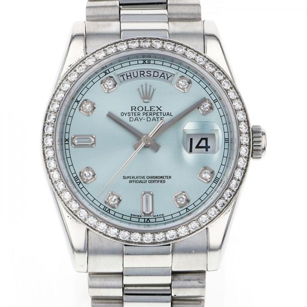 ロレックス ROLEX デイデイト 118346A アイスブルー文字盤 メンズ 腕時計 【中古】