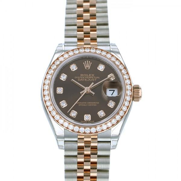 ロレックス ROLEX デイトジャスト 28 279381GRBR ブラック文字盤 レディース 腕時計 【新品】