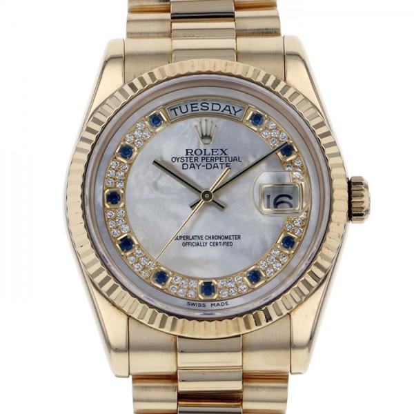 ロレックス ROLEX デイデイト 10Pサファイア 118238 ホワイト文字盤 メンズ 腕時計 【中古】