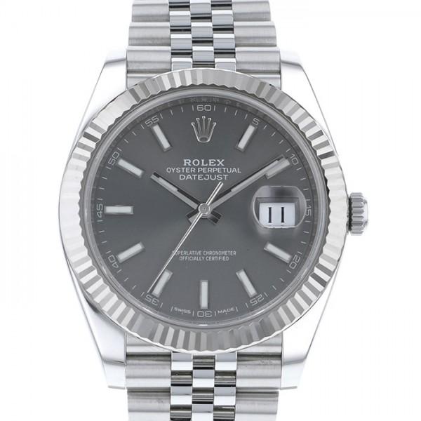 ロレックス ROLEX デイトジャスト41 126334 ダークロジウム文字盤 メンズ 腕時計 【中古】
