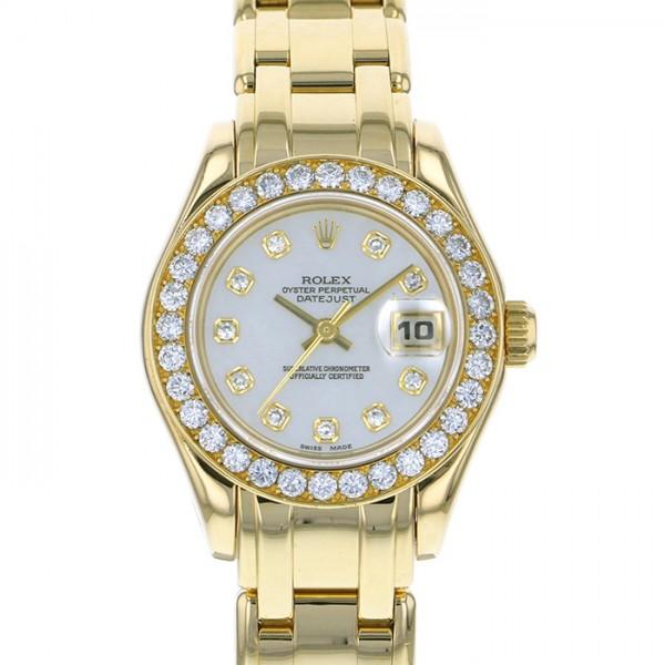 ロレックス ROLEX デイトジャスト パールマスター ベゼルダイヤ 69298 ホワイト文字盤 レディース 腕時計 【中古】