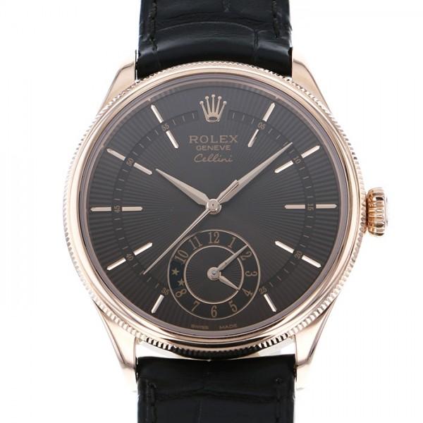 ロレックス ROLEX チェリーニ デュアルタイム 50525 ブラウン文字盤 メンズ 腕時計 【中古】
