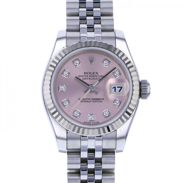 ロレックス ROLEX デイトジャスト 179174G ピンク文字盤 レディース 腕時計 【中古】