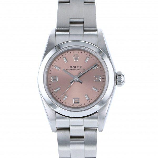 ロレックス ROLEX オイスターパーペチュアル 76080 ピンク文字盤 レディース 腕時計 【中古】