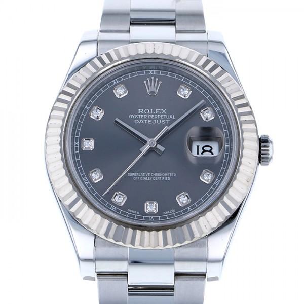 【ラッピング不可】 ロレックス ROLEX デイトジャスト II 116334G グレー文字盤  腕時計 メンズ, 自己満足 b2dde59c