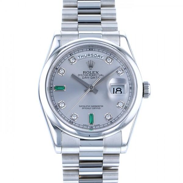 ロレックス ROLEX デイデイト 118206A シルバー文字盤 メンズ 腕時計 【中古】