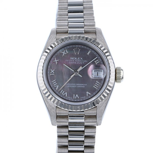 ロレックス ROLEX デイトジャスト 69179NR ブラックローマ文字盤 レディース 腕時計 【中古】