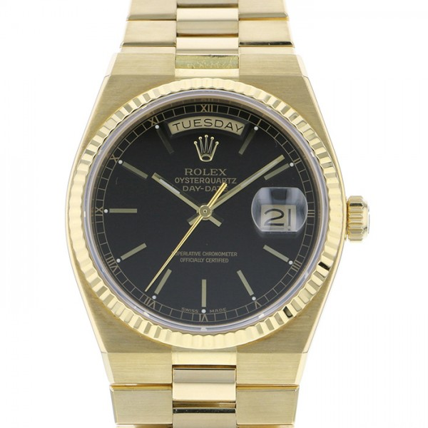 新しいブランド ロレックス ROLEX デイデイト オイスタークォーツ 19018 ブラック文字盤  腕時計 メンズ, タカサキシ ca893132