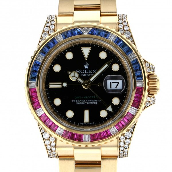 【全品 ポイント10倍 4/9~4/16】ロレックス ROLEX GMTマスター II 116758SARU ブラック文字盤 メンズ 腕時計 【中古】