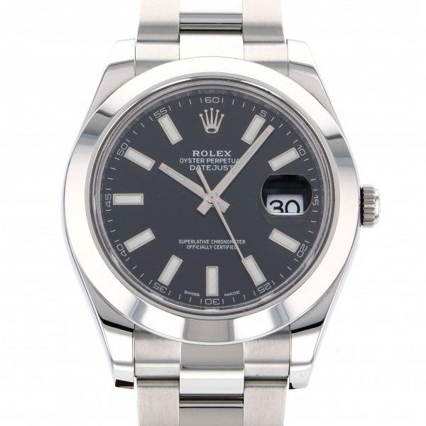 【全品 ポイント10倍 4/9~4/16】ロレックス ROLEX デイトジャスト II 116300 ブラック文字盤 メンズ 腕時計 【中古】