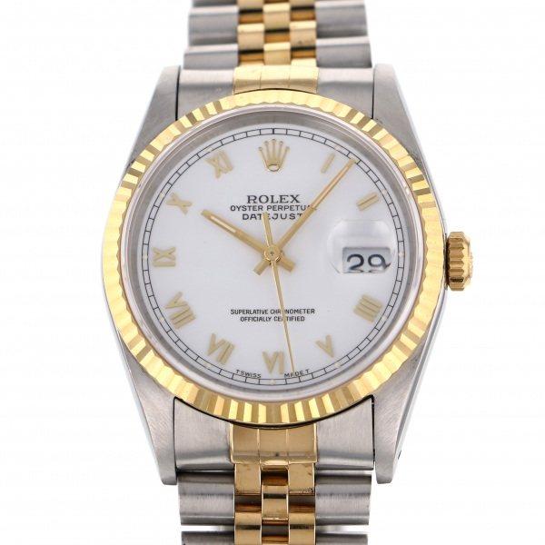 【全品 ポイント10倍 4/9~4/16】ロレックス ROLEX デイトジャスト 16233 ホワイトローマ文字盤 メンズ 腕時計 【中古】