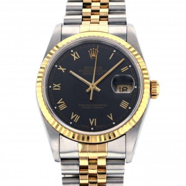 【全品 ポイント10倍 4/9~4/16】ロレックス ROLEX デイトジャスト 16233 ブラック文字盤 メンズ 腕時計 【中古】