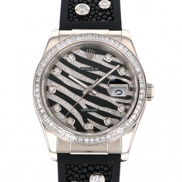 【全品 ポイント10倍 4/9~4/16】ロレックス ROLEX デイトジャスト ゼブラ 116189BBR 全面ダイヤ文字盤 メンズ 腕時計 【中古】