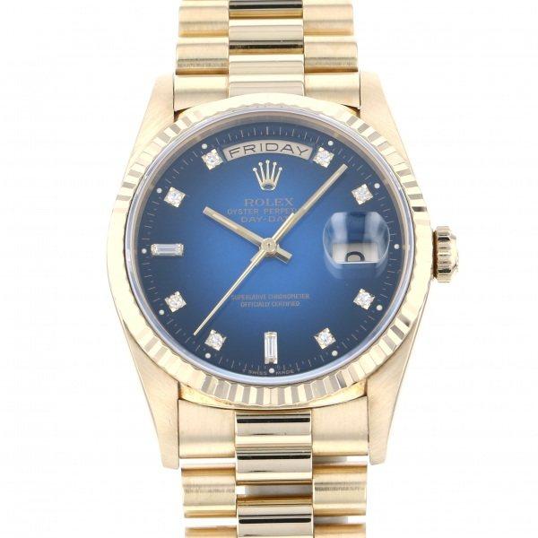 【全品 ポイント10倍 4/9~4/16】ロレックス ROLEX デイデイト 8PD・2バケットD 18238A ブルー文字盤 メンズ 腕時計 【中古】