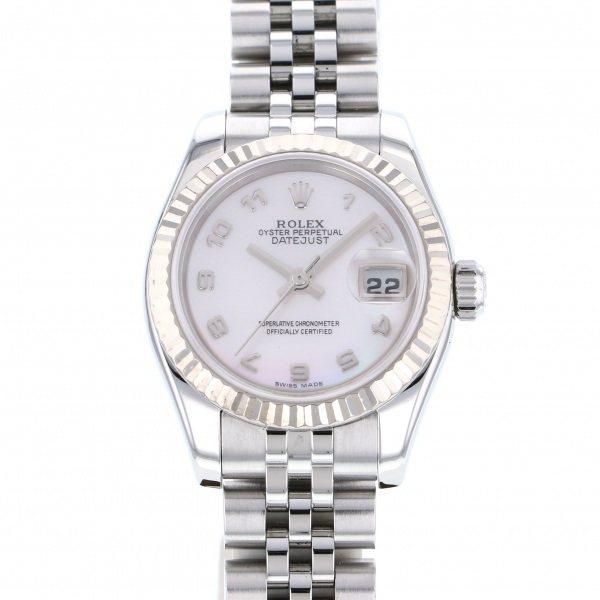 ロレックス ROLEX オイスターパーペチュアル 179174NA ホワイト文字盤 レディース 腕時計 【中古】