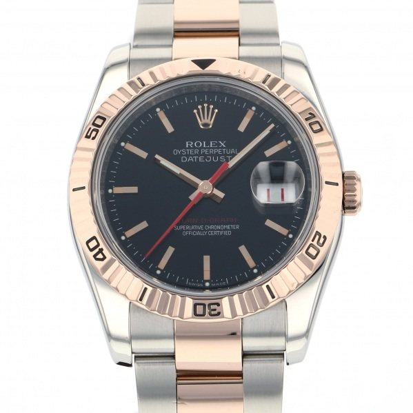 ロレックス ROLEX デイトジャスト ターノグラフ 116261 ブラック文字盤 メンズ 腕時計 【中古】