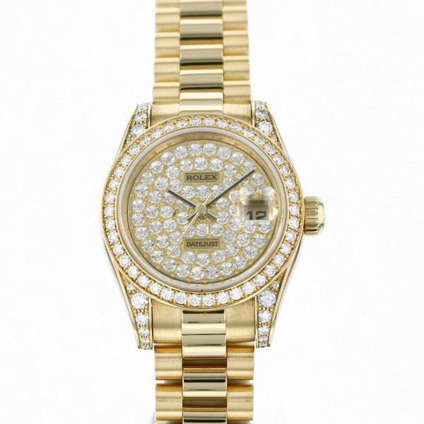 ロレックス ROLEX デイトジャスト 179158ZE 全面ダイヤ文字盤 レディース 腕時計 【中古】