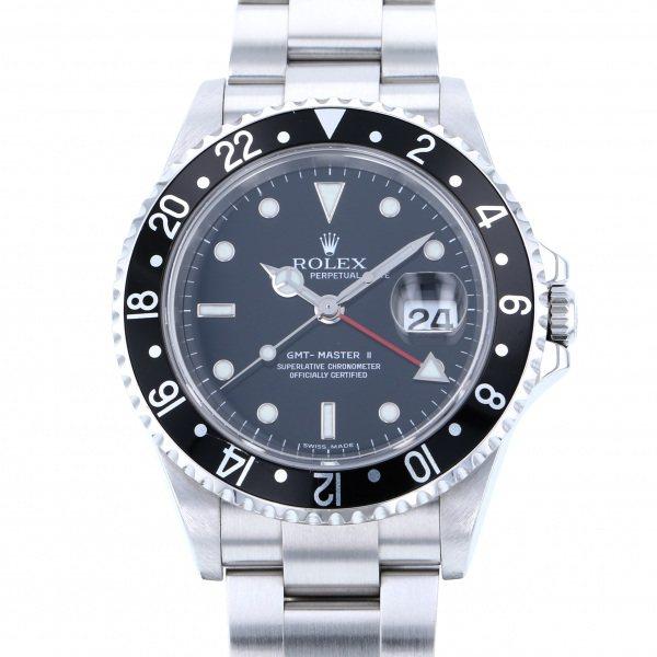 ロレックス ROLEX GMTマスター 黒ベゼル 16710LN ブラック文字盤 メンズ 腕時計 【中古】