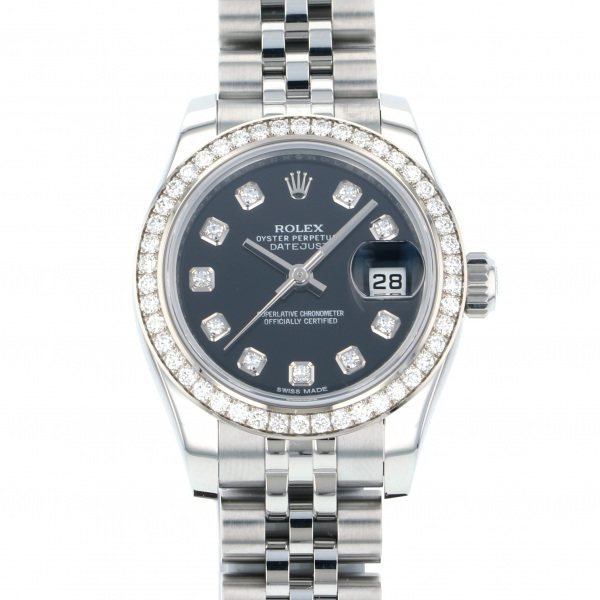 ロレックス ROLEX デイトジャスト 179384G ブラック文字盤 レディース 腕時計 【中古】