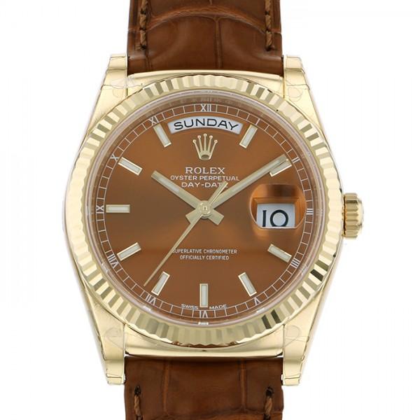 ロレックス ROLEX デイデイト 118138 ブラウン文字盤 メンズ 腕時計 【新品】