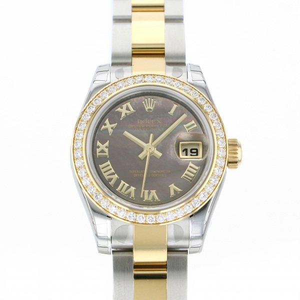 ロレックス ROLEX デイトジャスト ベゼルダイヤ 179383NR ブラックローマ文字盤 レディース 腕時計 【新品】
