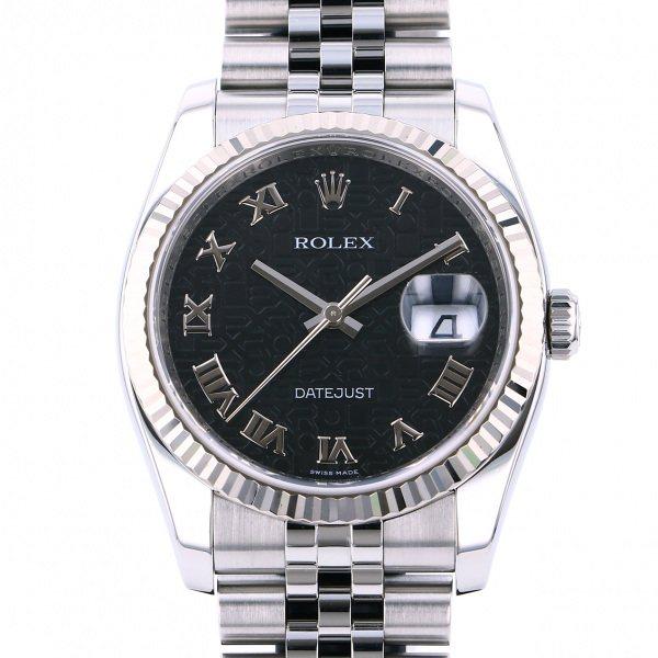 ロレックス ROLEX デイトジャスト 116234 ブラックローマ文字盤 メンズ 腕時計 【中古】