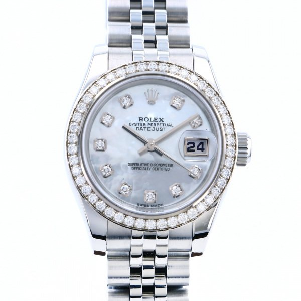ロレックス ROLEX デイトジャスト ベゼルダイヤ 179384NG ホワイト文字盤 レディース 腕時計 【中古】