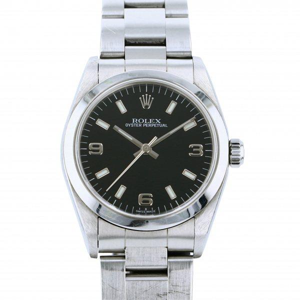 ロレックス ROLEX オイスターパーペチュアル 77080 ブラック文字盤 レディース 腕時計 【中古】
