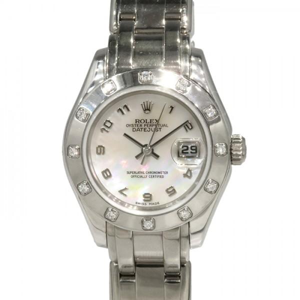 【期間限定ポイント5倍 5/5~5/31】 ロレックス ROLEX デイトジャスト パールマスター 80319 ピンクアラビア文字盤 レディース 腕時計 【中古】