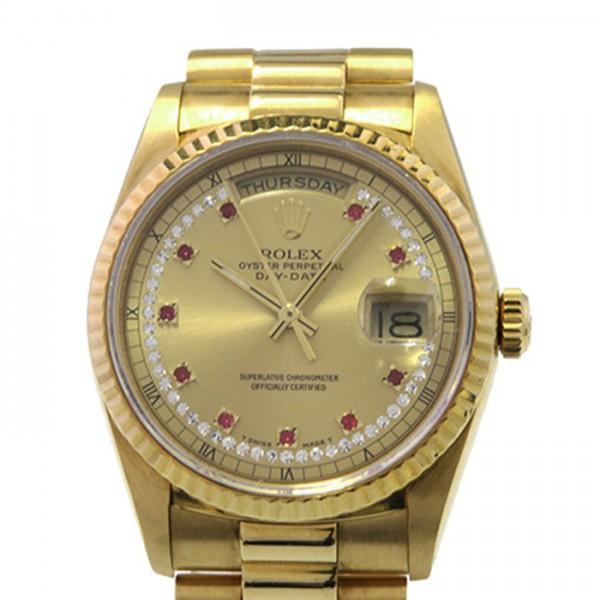 ロレックス ROLEX デイデイト ミリヤード 18238LR シャンパン文字盤 メンズ 腕時計 【中古】