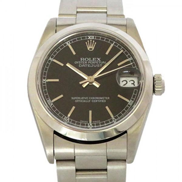 ロレックス ROLEX デイトジャスト 68240 ブラック文字盤 メンズ 腕時計 【中古】