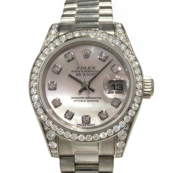 ロレックス ROLEX デイトジャスト ベゼル・ラグダイヤ 179159NG ホワイト文字盤 レディース 腕時計 【中古】