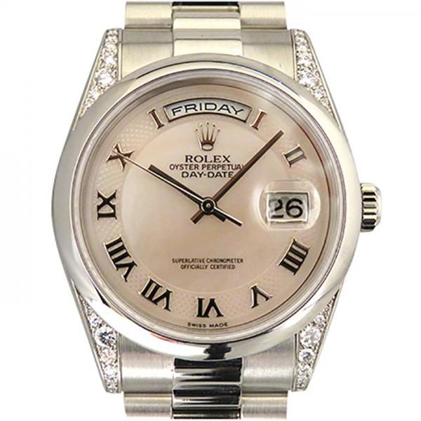 ロレックス ROLEX デイデイト ラグダイヤ 118296NRD ピンクローマ文字盤 メンズ 腕時計 【中古】