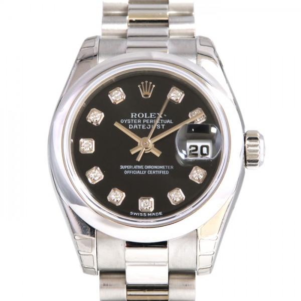 ロレックス ROLEX デイトジャスト 179166G ブラック文字盤 レディース 腕時計 【新品】