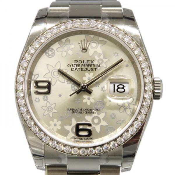 【期間限定ポイント5倍 5/5~5/31】 ロレックス ROLEX デイトジャスト ベゼルダイヤ 116244 シルバーフラワー文字盤 メンズ 腕時計 【新品】